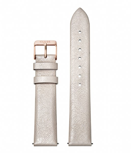 CLUSE  Strap Leather 18 mm Rose Gold Colored warm white metallic (CS1408101056)
