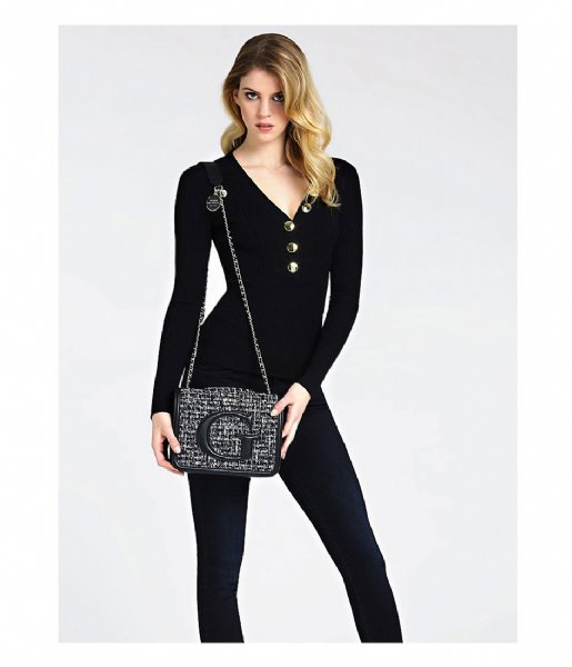 Guess Chrissy Convertible Xbody Flap Tweed en noir | fashionette