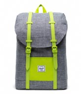 Herschel Supply Co. Retreat Youth raven crosshatch lime green (03024)
